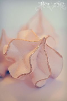 Gold trimmed meringues vintange, pale pink wedding treats by Evie and Mallow