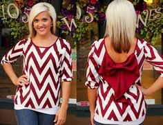 Garnet/Ivory Chevron Bow Back Blouse.  S, M, L.  Available at 105 West Boutique in Abbeville, SC.  (864) 366-WEST.  Shipping $5.