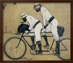 Ramon Casas e Pere Romeu em bicicleta de dois lugares Poster por Ramon Casas Carbo na AllPosters.com.br