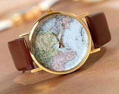 50  Rabatt World Map Uhr Unisex Uhr Leder von Emilyfashionshop, $2.98