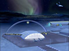 This handout picture shows an artist's impression of an international space airport in Kiruna. Kiruna, the northernmost city in Sweden, hopes to develop space tourism in 10 years by building an international space airport like this one. Space Tourism, Space Travel, Astronomy Stars, Flights To London, Space City, Lappland, Hubble Space Telescope, Space Images, Above The Clouds