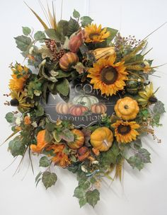 Gold Sunflower Silk Floral Fall Wreath with Welcome Easy Fall Wreaths, Autumn Wreaths For Front Door, Diy Fall Wreath, Door Wreaths, Wreath Crafts, Wreath Ideas, Flower Crafts, Diy Christmas Lights, Decorating With Christmas Lights