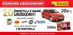 #biedronka #samochod #leon #bony #urodziny #nagroda #konkurs http://www.e-konkursy.info/konkurs/162445,konkurs-20-lat-biedronki.html