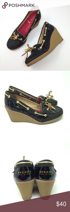 """Sperry Topsider Black Leather Cheetah Wedges Heels Sperry Topsider Women's Wedges Black Leather Cheetah Print Boat Loafer Heels  Type: Shoes Style: Wedges / Boat / Loafers / Heels / Slip On Brand: Sperry Top-Sider Size: 7.5 / 7.5M Heel Height: 2.75"""" Material: Leather Upper / Rubber Sole Color: Black w/ Gold Laces & Eyelets / Tan Sole Condition: Great, Preowned Condition Country of Manufacturer: China Stock Number: 0012 Sperry Shoes Wedges"""
