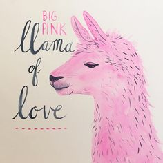 Doodle 16. It's the perfect day for a big pink llama of love! #365anniedoodles