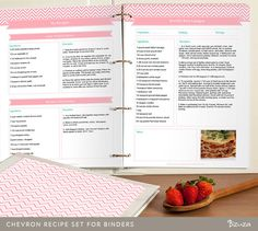 DIY Recipe Binder Printable and Customizable Recipe Template Editable PDF Pink Chevron Instant Download (12.00 USD) by Bizuza