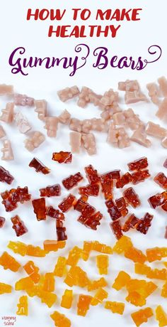 Recipes Snacks Kids How to Make Healthy Gummy Bears with real juice. These DIY gummy bears are made with orange juice and sweetened with honey. Kids will love these citrus-infused homemade gummy snacks that are easy to whip up with just a few ingredients. Making Gummy Bears, Homemade Gummy Bears, Homemade Gummies, Homemade Candies, Healthy Juices, Healthy Snacks, Healthy Kids, Healthy Candy, Healthy Drinks