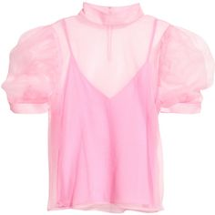 Sheer Top $39.99 (£31) ❤ liked on Polyvore featuring tops, see through tops, slit tops, puff sleeve top, pink top and button top