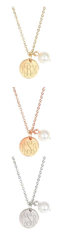 It's Tiny, Sweet, and Personalized! The Marleylilly.com Monogrammed Simply Sweet Pearl Necklace - Available in Silver, Gold or Rose Gold Tones. Would make a beautiful Bridesmaid Gift from the Bride! #LoveMonograms