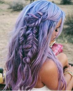Purple lilac lavender violet ombre in blue teal roots and messy braids for long hair