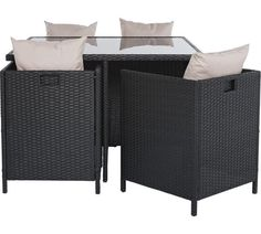 Buy Cube Rattan Effect 4 Seater Patio Set   Black At Argos.co.uk
