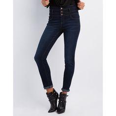 Refuge Hi-Waist Skinny Jeans ($33) ❤ liked on Polyvore featuring jeans, dark wash denim, high waisted jeans, dark wash skinny jeans, denim jeans, high waisted stretch skinny jeans and stretch skinny jeans