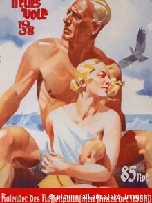 A Nazi poster from 1938 shows the ideal man and woman with traits such as fair hair and blue eyes