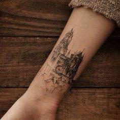 watercolor architecture tattoo - Pesquisa Google