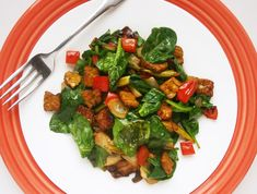 Vegans only: Tempeh Breakfast Skillet with tons of veggies -- red bell peppers, asparagus, diced onion, and baby spinach. If you've got 15 minutes, you can throw together this healthy breakfast.