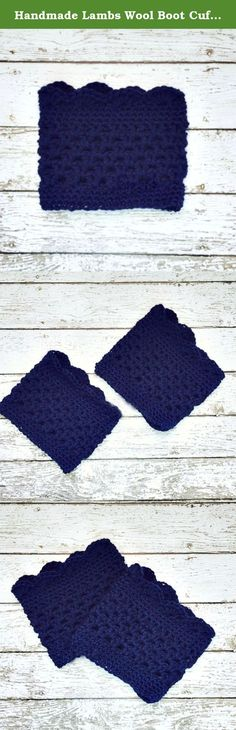 """Handmade Lambs Wool Boot Cuffs Navy Blue Boot Toppers Womens Boot Socks. Handmade in USA crochet Lambs Wool Boot Cuffs are very trendy and preppy for cooler weather! These boot socks, boot toppers or winter apres ski leg warmers are this season's must-have fashion accessory. Preppy / Rustic Country - perfect for spring or fall too Wear them straight up, or fold over top of boot. Made from Lambs Wool Blend in Navy Blue Size Medium. Stretches to fit most calf sizes, approximately 13"""" - 15""""..."""
