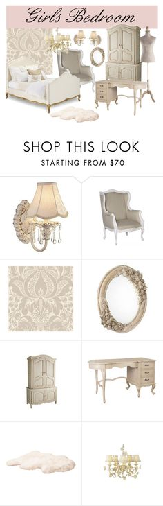 """""""Antique Vintage Girl's Bedroom"""" by kailani ❤ liked on Polyvore featuring interior, interiors, interior design, home, home decor, interior decorating, Kathy Ireland, Market, Ralph Lauren and Grayce"""