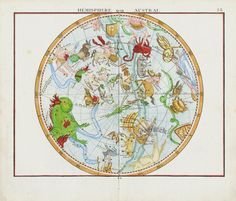 Hemisphere Austral from 1776 Celestial Astrology Engravings, Star Maps, Horoscope Prints by Flamsteed