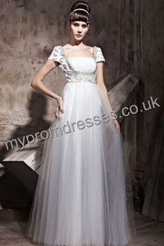 Floor Length Square Gray Tulle A-line Evening Dress  http://www.mypromdresses.co.uk