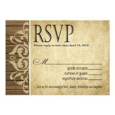 Rustic Wood Filigree RSVP Response | brown tan Invite