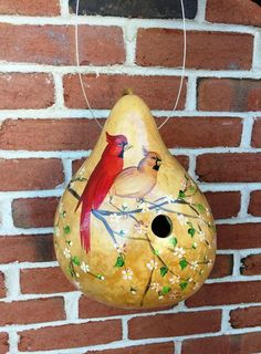 Handpainted Gourd Birdhouse with Cardinals on a Cherry Blossom image 1 Bird Houses Painted, Bird Houses Diy, Painted Birdhouses, Cherry Blossom Images, Palm Frond Art, Wood Burn Designs, Gourds Birdhouse, Hand Painted Gourds, Different Birds