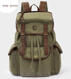 Vintage retro Womens Mens Casual Canvas Backpack bookbag Rucksack Bag  Satchel 37b55aab38