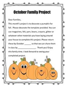 This packet includes a family project for every month of the school year. September: About MeOctober: Pumpkin- My favorite thing about FallNovember: Disguise a TurkeyDecember: Build a snow familyJanuary: Goals for the new yearFebruary: Love of a familyMarch: I'm lucky becauseApril: Decorate a family kiteMay: Memories in a comic strip