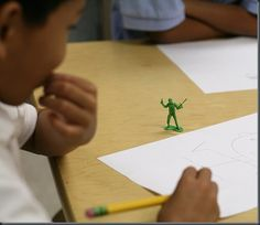 drawing little army men as a lesson in figure-drawing!  there are also a pink ballerina version of these!