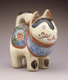 Toy Dog, century Netsuke, Pottery with colored and crackled glazes. Japanese Pottery, Japanese Art, Japanese Toys, Christian Marclay, Traditional Toys, Cat Statue, Art Japonais, Pottery Sculpture, Museum Exhibition