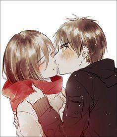 Shingeki no Kyojin - Eren and Mikasa - Kiss