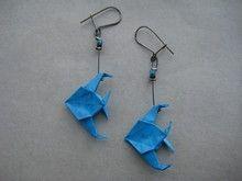 Boucles d'oreilles Poisson ''scalaire'' bleu vif