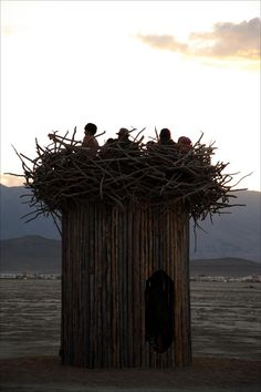 Tree house-like art project called Nest at Burning Man