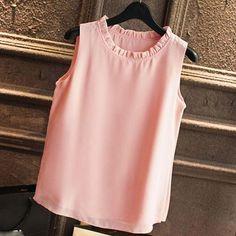 GAREMAY Shirt Women Summer Chiffon Tops White Sleeveless Blouses For Women Clothes Ruffle Elegant Vintage Feminine Shirts Sleeveless Outfit, White Sleeveless Blouse, Vintage Shirts, Blouse Designs, Shirt Blouses, Blouses For Women, Chiffon Tops, Couture, Clothes