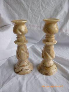 "Vintage 6"" Stone Granite Marble Candle Holder SET OF 2 Hand made #handmade"