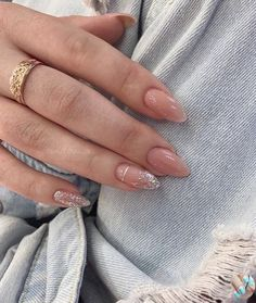French Manicure Nails, Nude Nails, Pink Nails, Gel Nails, Coffin Nails, Silver Nails, Stiletto Nails, Silver Glitter, Minimalist Nails
