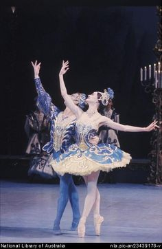 McMurdo, Don, 1930-2001. [Australian Ballet performance of The sleeping beauty, with Leanne Rutherford and Mark Annear in the Bluebird pas de deux, December 1984] [transparency]