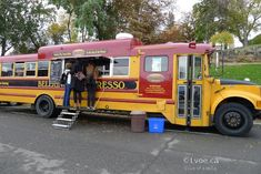 School bus Old School Bus, School Bus Driver, School Buses, Popup Camper, Truck Camper, Bus Restaurant, Food Business Ideas, Container Bar, Mobile Business