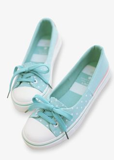 Cute Polka Dots Sneakers In Mint❤ These would go so well with almost any jeans, short dress or short skirt.