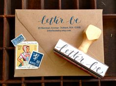 CALLIGRAPHY ADDRESS STAMP - Return Address in Script & Type - Weddings, Branding, Custom - Wooden Handle. $42.00, via Etsy.