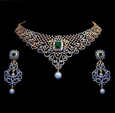 Diamond Necklaces / Chokers - Diamond Jewelry Diamond Necklaces / Chokers at USD Diamond Necklace Set, Diamond Pendant, Diamond Jewelry, Diamond Choker, Diamond Mangalsutra, Diamond Bracelets, Sabyasachi, Necklace Designs, Jewelry Design