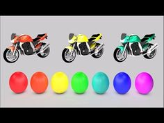 Learn Colours Video for Children with Surprise Eggs and Colour Motorcycles