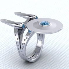 Star Trek USS Enterprise Ring — $600 | 23 Geeky Engagement Rings That Are Beyond Perfect