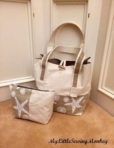 Canvas Tote and Cosmetic Pouch  PDF Sewing Pattern