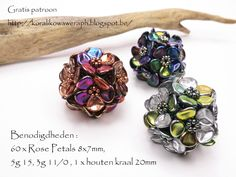 Schema here: http://koralikowaweraph.blogspot.be/2014/08/kula-kwiatula-z-rose-petals-beads-jak.html.  You make 12 little flowers and hook them together.  #Seed #Bead #Tutorials