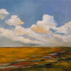 STREAMING, oil painting, 100% charity donation, original painting, 12x12 on stretched canvas, sky, clouds, field, desert, canvas. $99.00, via Etsy.