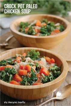 Gluten-Free Crock Pot Chicken Soup with Kale, Carrots and a special blend of spices.