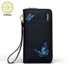Pmsix Embroidery Butterfly Women Wallet Cattle Split Leather Women Purse Long Designer Money Clip Carteira Feminina 420030