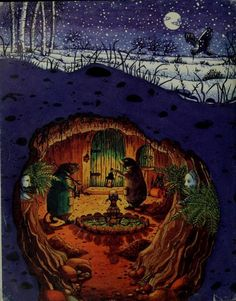 ohsamiam: Mole's Christmas, or, Home Sweet Home (from The Wind in the Willows by Kenneth Grahame. Illustrations by Beverley Gooding Are children read Wind in the Willows anymore. Such a wonderful book! Art And Illustration, Illustration Children, Christmas Illustration, Book Illustrations, Fantasy Kunst, Fantasy Art, Les Moomins, Whimsical Art, Art Plastique