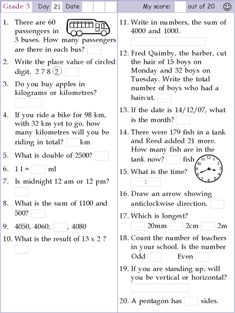 Search Results for Class 3 English Worksheets For Kindergarten, 3rd Grade Math Worksheets, Math Tutor, Math Test, 1st Grade Math, Grade 3, Math Olympiad Questions, Year 3 Maths, Math Pages