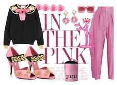 """Disco Pink"" by ellenfischerbeauty ❤ liked on Polyvore featuring Gucci and Prada"
